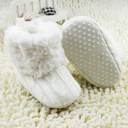 Wholesale Toddler Girl Gray Boots - Wholesale-Warm Prewalker Boots Toddler Girl Boy Crochet Knit Fleece Boot Wool Snow Crib Shoes Winter Booties