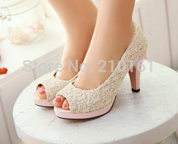 "Wholesale Lace Heel Peep Toe Ivory - 2015 Women Prom High Heel Shoes Lace Pleat 3.5"" Pumps Sweet New Arrival Vintage Causal Ivory Wedge Wedding Shoes"