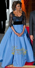 Wholesale Michelle Obama - Hot 2016 new Michelle Obama contrast color sleeve V-neck beaded applique ball gown dress celebrity mom