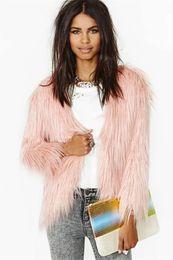Wholesale Womens Long Fox Coats - Womens Long Hair Faux Fox Fur Warm Coat Ladies Fashion Winter Outwear Jacket Fur Topwear Pink color Free Shipping S M L XL XXL WT122