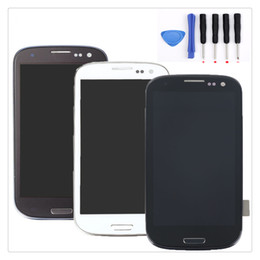 Wholesale galaxy s3 assembly - High Quality For Samsung Galaxy S3 i9300 LCD Digitizer Assembly With Frame Free Shipping and Repair Tool Kit