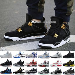 Wholesale Clear Military - Retro 4 mens Basketball shoes Military Motosports blue Alternate 89 Pure Money White Cement Royalty bred Fire Red Black Cat oreo sneakers