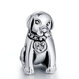 Wholesale Crystal Pendants For European - Gorgeous Loyal Dog With Crystal Pendant European Charms Fit for 925 Sterling Silver Snake Chain Bracelet Fashion DIY Jewelry