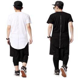 2019 tee shirts tyga Wholesale-Back Zipper Streetwear Swag Uomo Hip Hop Skateboard Tyga T-shirt Maglietta Top Tees Abbigliamento uomo Nero / Bianco sconti tee shirts tyga