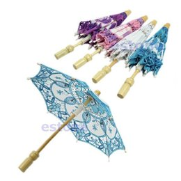Wholesale Umbrella White - Hot Selling New Bridal Embroidered Lace Parasol Wedding Party Decoration Umbrella 4Colorsff Free Shipping