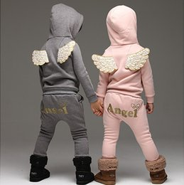 Wholesale Infants Tracksuits Boys - Kids Boys Girls Angel Wings Tracksuit 2-6T Baby Boy Girl Hooded Tshirt + Pants 2pcs Suits 2018 Infant Sports Sets Outfits Children Clothing