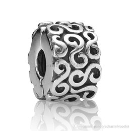 Wholesale Sterling Silver Crimps - 2014 Enamel crimp S Round Clip Design 925 Sterling Silver European Bead Charm Custom Art Jewelry For Snake Bracelet Wholesale