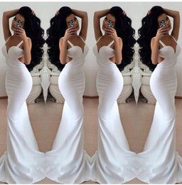 Wholesale Low Priced Long Dresses - High Quality But Low Price White Mermaid Long Formal Evening Dresses With Straps Backless Sexy Party Prom Dress Gowns No Sleeve Exquisite