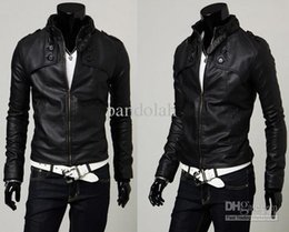 Wholesale Short Brown Leather Jackets - 2017 Cool Men Jacket Faux Leather Motorcycle Jacket Slim Stand-up PU Leather Coat Cool Man Jacket Outwear US 4 Size