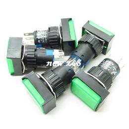 Commutateur nc en Ligne-Rectangle vert auto-verrouillage verrouillage bouton-poussoir + DC24V Llight NO-COM-NC 16mm 5Pin 3A 25 PCS / LOT