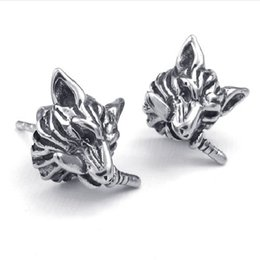 Wholesale Mens Tribal - Mens Stainless Steel Gothic Tribal Dagger Wolf Stud Earrings Black Silver Drop Shipping