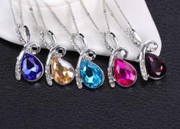Wholesale Crystal Tears Pendant Necklace - Women jewelry Luxurious austrian crystal Diamonds pendant necklace 925 Sterling Silver Necklace Angel's tear Pendant Statement Necklace