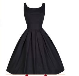 Wholesale Xxl Black Mid Calf Dress - Summer Women Hepburn Dresses O-neck Black Retro Casual Party Robe Rockabilly 50s Vintage Vestidos 4 Colors Plus Size S-XXL SK06258
