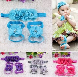 Wholesale Baby Accessories Feet - 2015 Europe Infant Kids Diamond Hair Accessories 3pcs Set Baby Girls Boys Chiffon Flowers Elastic Headbands And Foot Bands L822