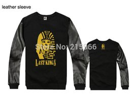 Wholesale Cheap Leather Sleeves - Wholesale-Wholesale Cheap 2015 winter autumn leopard sleeve Brand Hip hop Last Kings Sweatshirts O-Neck men's leather sleeve sweatshirts