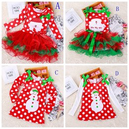 Wholesale Dresses For Short Holidays - Girls christmas dress babies clothes kids holiday clothes children dresses for girl Santa Claus snowman printed child infant lace tutu skirt