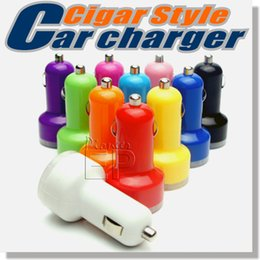 Wholesale For iPhone s s plus USB Dual Car Charger Input VDC Output V A Colorful Mini cigarette lighter Universal Smart Car Battery Charger