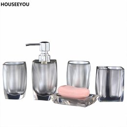 Wholesale Home Decoration Bathroom - 5pcs set Bathroom Accessories European Resin Bathroom Soap Dispenser Set Toothbrush Holder Soap Dish Bath Set Home Decoration