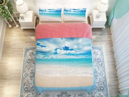 Wholesale Beach Duvets - Wholesale-bright skyblue colored sea beach scenic print bedding set bedspread twin full queen king size bed linens duvet covers 4-5 pieces