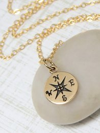 Wholesale Brass Findings Free Shipping - Free shipping 10pcs lot,Gold silver Compass Necklace, Find your true north, Tiny Compass Pendant Necklace For Women XL145