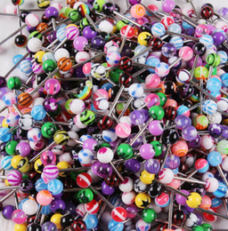 Wholesale Heart Stainless Steel - Mixed Color Acrylic Tongue Stud Ring For Women candy color Piercing tongue piercing Ring Studs Barbell Jewelry Nibble BY