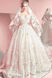 Nueva Primavera 2016 de Zuhair Murad vestidos de boda de Tulle del amor del piso de longitud apliques de encaje balón vestidos de novia vestido de corsé Volver BO9709 desde fabricantes