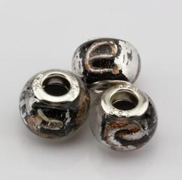 """Wholesale alphabet fit bracelet - MIC 100 Pcs Black Gold Silver Foil Alphabet """"e"""" lampwork Glass Large Hole Beads Fit Beaded Bracelet"""