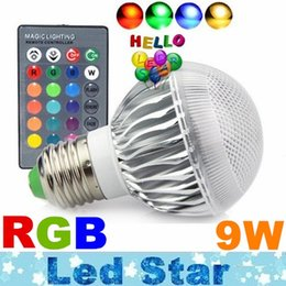 Wholesale Christmas Lights Change Colors - For Christmas Lighting Led RGB Light Bulbs 9W E27 Led Bulbs 16 Colors Change AC 85-265V + 24keys Remote Contorl