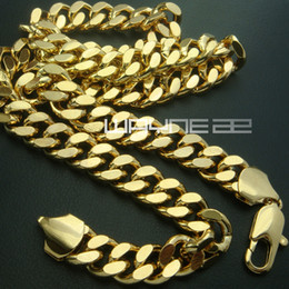 Wholesale Curb Link Mens Gold Necklace - 18k gold Filled mens solid Heavy chain long Necklace curb ring link jewell N224