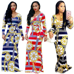 Wholesale Print Silk Maxi Dress - African Design Chain Print Striped Maxi Dress 2017 Winter New Long Sleeve O Neck Sashes Bodycon Long Dress Elegant Women Party Dresses