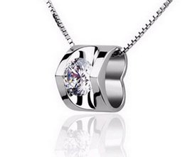 Wholesale Top Dresses Wholesale - Austria Heart Love Crystal Cubic Zircon Top AAA Diamond 925 sterling silver Pendant necklace For Wedding Dress Sets Party
