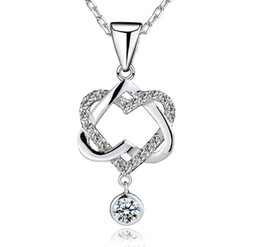Wholesale Forever Days - 925 Sterling Silver Forever Love Pendant Necklace Heart to Heart Perfect Ladies Luxury Wedding Austrian Crystal Party Dress Zircon Jewelry
