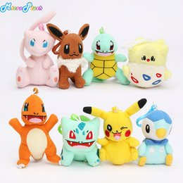Wholesale pikachu toys - 8pcs lot pikachu doll toy bulbasaur piplup charmander eevee mew squirtle plush stuffed pendant toy with hook