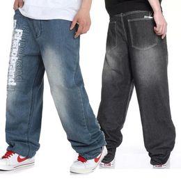 Wholesale Size 32 Men Pants - Wholesale-Summer Autumn Oversized Letter Printed Hip Hop Jeans For Men,Black Light Blue Baggy Rock Denim Pants Streetwear,Plus Size 32-46