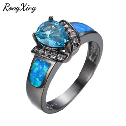 Wholesale Fire Horn - Wholesale- RongXing Sweet Heart Light Blue Zircon Ring Vintage Jewelry Blue Fire Opal Women Ring Black Gold Filled CZ Wedding Rings RB0358