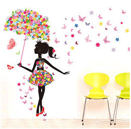 Wholesale Sticker For Children Day - Fashion Modern Girl Butterfly Wall Sticker Creative Floral Stickers Decorative Mural Child Rooms Stiker DIY Wall Decals QT085