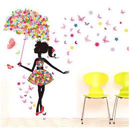 Moda Modern Kız Kelebek Duvar Sticker Yaratıcı Çiçek Çıkartmalar Dekoratif Duvar Çocuk Odaları Stiker DIY Duvar Çıkartmaları QT085 cheap wall murals for children nereden çocuklar için duvar kağıdı tedarikçiler