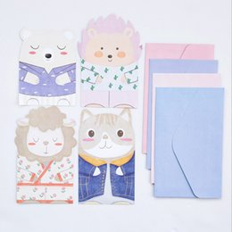 Wholesale Cute Stationery Envelopes - Wholesale- 4 pcs envelope+4 page letter Cute animal paper Envelope stationery Office&School Supplies envelope for party Letter Invitation