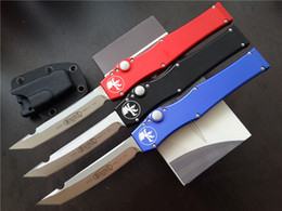 Wholesale Hunting Knife Sets - VESPA MICROTECH 150-10AP Custom 150-4 HALO V T E satin Plain knife Tanto Edge single action Tactical knife knives with original box