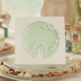 Wholesale Printable Green Wedding Invitations - Fashion Printable Customizable Light Green Love Tree Laser Cut Wedding invitation Cards Free Shipping