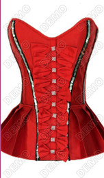 Wholesale Red Plaid Corset - Valentine Rhinestone Ruffles Overbust Peplum Corsets and bustiers Red Black sexy Coret top Waist Trainning Corsets and bustiers