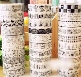 Wholesale Decorative Stickers Scrapbooking - 20pcs pack 1.5cm*10m DIY Sticky Adhesive Sticker Decorative Scrapbooking Washi Tape Cartoon waterproof style Randomly 2016