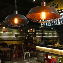 Wholesale Vintage Industrial Edison Pendant - Industrial Pendant Light y stamped Lighting Edison Bulb Chandelier Vintage Pendant Lamp Antique Iron Art Lamp 26 36 46cm Household lamp