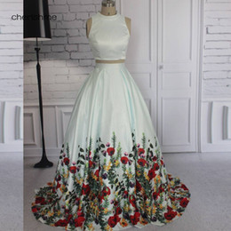 Wholesale Beautiful Women Photos - Most Beautiful Two Pieces Ball Gown Floral Print Satin Long Sleeves Lace Formal Plus Size Dresses Evening Wear for Women Vestido Party Gowns