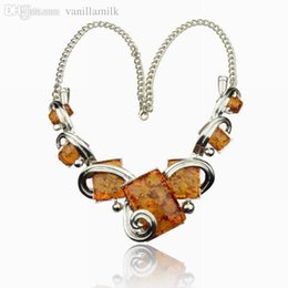 Wholesale Amber Chunky Necklace - Wholesale-Vintage Necklace Women Chunky Tibet Silver Ambroid Faux Amber Square Bib Collar Choker Statement Necklaces Pendents