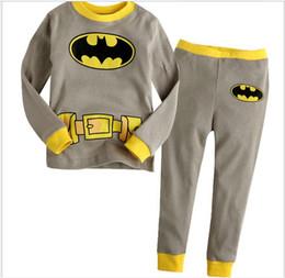 Wholesale Boys Batman Tops - Baby Boys Girls Homewear Children's Pajamas Child Cartoon Batman T-shirt Tops+Pants 2pcs Sets Kids Outfits Suits Cute Boy Girl Clothing