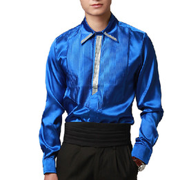 Wholesale Mens Sequins - Free shipping sequins beading royal blue medieval prince stage mens tuxedo shirts party wedding shirts