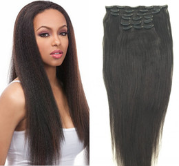 Wholesale 8inch Straight Human Hair - 8inch-30inch Full Head Yaki Clip In Human Hair Extensions Kinky Straight Brazilian Virgin Hair Straight 100% Human Hair