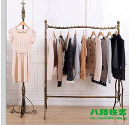 Wholesale Wrought Iron Clothing Display Racks - Wrought iron high-end clothing shelves floor display shelf Hang clothes rack display stand men's shelves