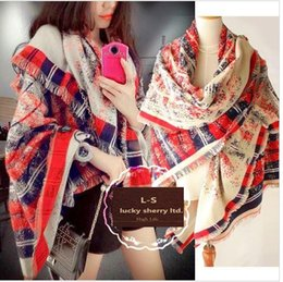 Wholesale Woman Shawl Sizes - Free shipping new winter small fragrant wind C home Titan large square striped gradient cashmere scarf shawl 200*60cm size